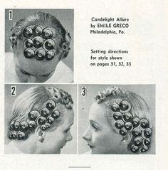 Vintage Hairstyles Curls Pin curl setting, this one is great for longer hair. If your hair is really thick or long just add an extra row of curls in the back, behind ears. Vintage Haircuts, 1940s Hairstyles, Hairstyles Haircuts, Wedding Hairstyles, Sleep Hairstyles, Historical Hairstyles, Looks Vintage, Vintage Pins, Vintage Shoes
