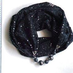 Foulard gioiello - sciarpa decorata con perline