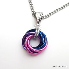 Bi pride pendant necklace, chainmail love knot, bisexual pride jewelry