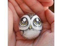 owl painted rocks | Owl Handpainted Magnet rock painting handpainted stone miniature ...