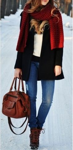#winter #fashion / red scarf + knit