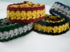 harry potter crocheted house bracelets small by TheFreckledPurl, $15.00