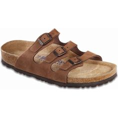 92a5921bc50f Birkenstock Women s Florida Soft Footbed Cocoa Nubuck Slide Sandals ( 130)  ❤ liked on Polyvore