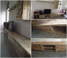 After measuring at the customer house, we agreed to create a very long TV stand meters!), with very simple and contemporary form. The practical side Free Wood Pallets, 1001 Pallets, Recycled Pallets, Recycled Wood, Outdoor Pallet Projects, Pallet Ideas, Pallet Designs, Wood Projects, Tv Stand Rack
