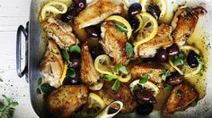 This lovely braised chicken dish gets its zest from slowly simmered lemon. It also works well with sauteed fish such as whiting or snapper fillets, browned . Tray Bake Recipes, Casserole Recipes, Dinner Recipes, Cooking Recipes, Chef Recipes, Turkey Recipes, Olive Recipes, Italian Recipes, Chicken Thigh Recipes