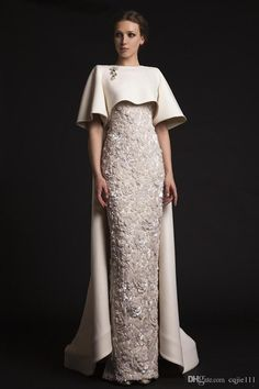2018 New Sexy Luxury Long Evening Dresses with Cape Beaded Appliques Elegant Evening Gowns Formal Red Carpet Dresses Evening Wear Cheap 170