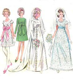 60s Empire Waist Wedding Dress - McCalls 9652 - Princess Seam / Two Lengths - Bridesmaid / Evening Dress - Vintage Sewing Pattern - Size 12