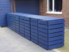 Triple Bin Store, Outdoor Furniture, Outdoor Decor, Outdoor Storage, Home Decor, Waste Container, Fine Dining, Hide Trash Cans, Front Yard Design