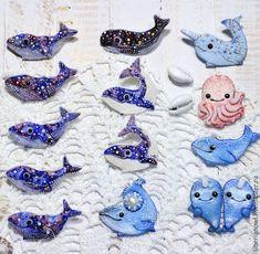Купить Брошь кит украшение ручной работы Морская тема жители океана - жители океана