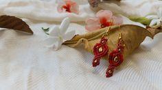 #macrame #earrings #red earrings macrame #jewelry, micro macrame, #dangle & drop earrings, #tribal earrings, #boho earrings, brass beads, #gypsy by NarkisMacrame on Etsy