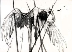 Bloody anime art, hm a fallen angel it seems
