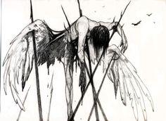 Bloody anime art, hm a fallen angel it seems