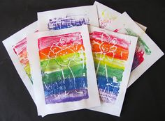 These Rainbow Styrofoam Prints are so pretty. must figure out how to do
