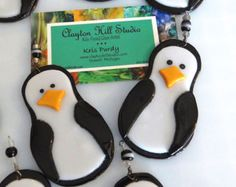 Penguin Ornament Fused Glass by chneos on Etsy