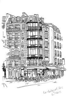 Rue Montorgueil à Paris le 27 mai 2013. Format A3. Plume à l'encre de chine.