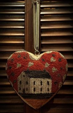My Old Crow Primitives Primitive Handmades Mercantile Wool Applique Patterns, Punch Needle Patterns, Rug Patterns, Valentine Decorations, Valentine Crafts, Valentines, Primitive Crafts, Primitive Country, Fabric Hearts
