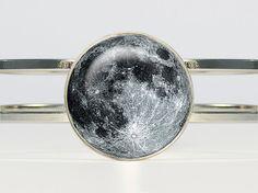 Full Moon Bracelet  Full Moon Bracelet  Full Moon Jewelry Galaxy Space Glass Bezel Art Photo on Etsy, $19.50