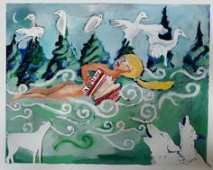 Floating on the wind Gouache, Paintings, Display, Cards, Paint, Billboard, Painting Art, Painting, Maps