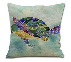 """Amazon.com - HOSL Cotton Linen Square Throw Pillow Case Decorative Cushion Cover Pillowcase for Sofa Blue Rusty Anchor with Coral 18 """"X18 """" (1, Square) -"""