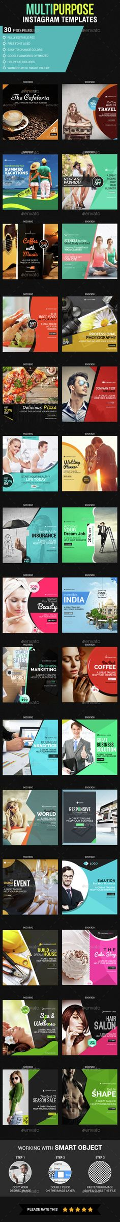 Multipurpose Instagram Templates — Photoshop PSD #yoga #femine • Available here → https://graphicriver.net/item/multipurpose-instagram-templates/14672256?ref=pxcr