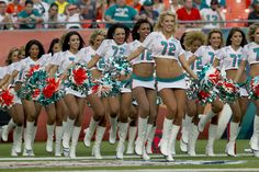 Miami Dolphins cheerleaders enter the field at the two-minute warning during the fourth quarter of the team's game against the Jacksonville Jaguars at Sun Life Stadium in Miami Gardens on Dec. 16, 2012. Joe Rimkus Jr. / Staff Photo