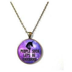 People Suck, Let's Be Unicorns with Galaxy Background Necklace Funny... ❤ liked on Polyvore featuring jewelry, necklaces, accessories, unicorn pendant, planet necklace, bronze necklace, grunge necklaces and pendant chain necklace