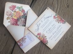 Vintage Wedding invitation Boho Chic Victorian by anistadesigns