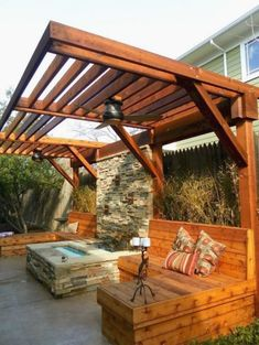 Pergola Designs Ideas And Plans For Small Backyard & Patio - You've likely knew of a trellis or gazebo, but the one concept that defeat simple definition is the pergola. Diy Pergola, Building A Pergola, Backyard Privacy, Pergola Canopy, Outdoor Pergola, Pergola Plans, Pergola Ideas, Building Plans, Wooden Pergola