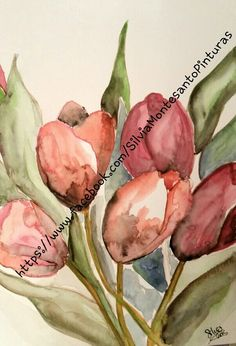 Tulipanes en Acuarelas Watercolor Aquarelle