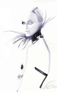 Fashion Drawing Valentino illustration by David Downton - Inside the David Downton couture fashion illustration exhibition at Assouline Mode Vintage Illustration, Face Illustration, Fashion Illustration Sketches, Fashion Sketches, Drawing Fashion, Dress Sketches, Design Illustrations, David Downton, Image Deco