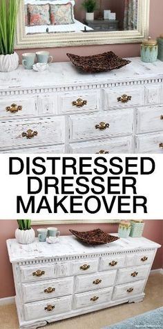 Give an old dresser new life! Easy chalk paint technique of dry brushing to give it the distressed look! by willie