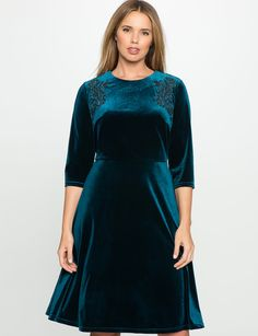 24 P or 22 regular Velvet Embroidered Dress from eloquii.com