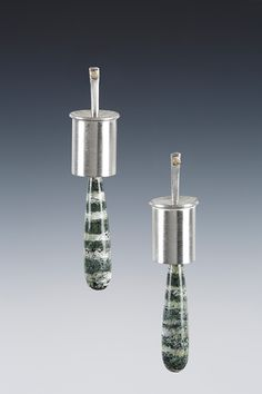 Sterling, 18K and Crizotile drop earrings.Lona Northener