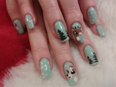 Christmas favourites!! Rudolph characters on gel nails
