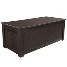 Rubbermaid Patio Chic 136 Gal. Resin Basket Weave Patio Storage Trunk Deck Box in Brown