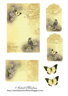 Astrid's Artistic Efforts: Friday Freebie, birds and butterflies