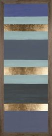 Blue Stripes 1, Wood, 45h X 17w  Contemporary, Wood, Paper, Art by Curated…