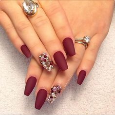 Hate the rhinestones but lovee that matte maroon color. hate the rhinestones but lovee that matte maroon color claw nails designs, red nail designs Claw Nails Designs, Nail Art Designs, Fabulous Nails, Gorgeous Nails, Amazing Nails, Amazing Red, Hot Nails, Hair And Nails, Nagel Piercing