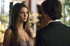 """Vampire Diaries -- """"I'll Wed You in The Golden Summertime"""" -- Image Number: VD621a_0288.jpg -- Pictured (L-R): Nina Dobrev as Elena and Ian Somerhalder as Damon -- Photo: Tina Rowden/The CW -- © 2015 The CW Network, LLC. All rights reserved.pn"""