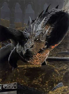An Acrylic Painting of Smaug from The Hobbit The Desolation of Smaug. Measures x *image updated The Hobbit The Desolation of Smaug - Smaug Weird Creatures, Fantasy Creatures, Mythical Creatures, Tolkien, Tauriel, Smaug Tattoo, Smaug Dragon, Lord Of The Rings Tattoo, Dragons