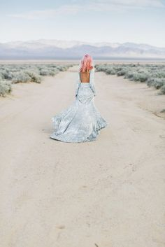 Glittering desert sparkling wedding dress editorial pink pastel hair sea punk