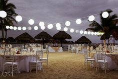 The perfect wedding dinner beach set up // Unlimited Romance at Dreams Puerto Aventuras // Photo courtesy of Del Sol
