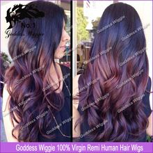 100% Human Hair Full Lace Ombre Wigs Glueless/Brazilian Remy Lace Front Wig/Ombre U Part Human Hair Wig For African Americans(China (Mainland))