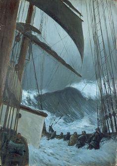 Herbert Barnard John Everett, The Deck of the 'Birkdale' in a Storm, 1920