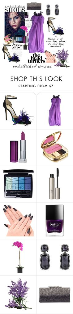 """""""Feathered Friends"""" by lulu13nyc ❤ liked on Polyvore featuring Jimmy Choo, Pamella Roland, Maybelline, Dolce&Gabbana, Christian Dior, Ilia, Butter London and David Yurman"""