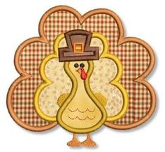 TURKEY Applique 4x4 5x7 6x10 Machine Embroidery Design Thanksgiving holiday. $2.99, via Etsy.