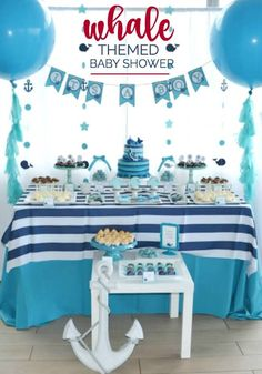 Ocean themed parties are a popular theme for boy's first birthday parties. And this whale party is a gorgeous take on the theme