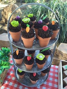 Love these veggie cupcakes at a Farmers Market birthday party! See more party ideas at CatchMyParty.com!