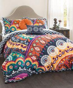 Look what I found on #zulily! Navy & Orange Quilted Five-Piece Comforter Set #zulilyfinds