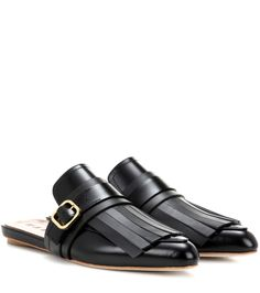 Marni - Fringed leather slippers | mytheresa.com